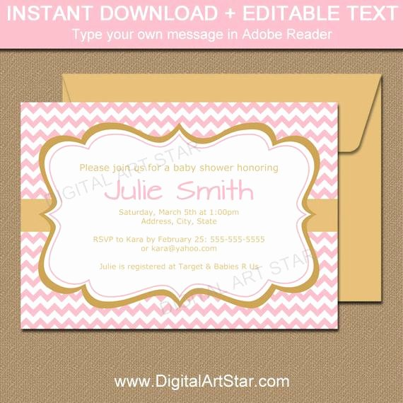 Pink and Gold Invitations Templates Unique Pink and Gold Baby Shower Invitation Template Its A Girl