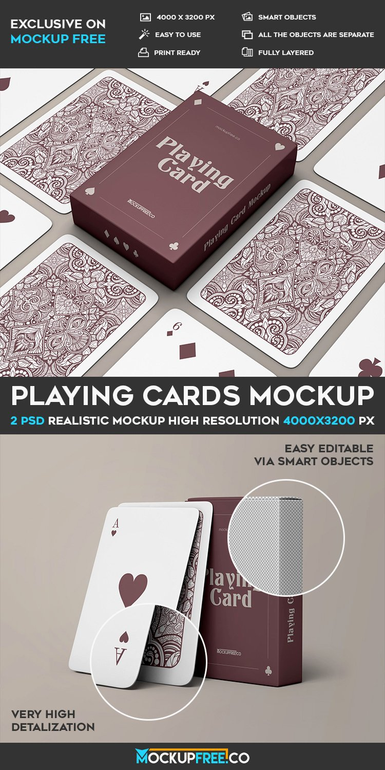 Playing Card Template Photoshop Beautiful Playing Cards V02 2 Free Psd Mockups