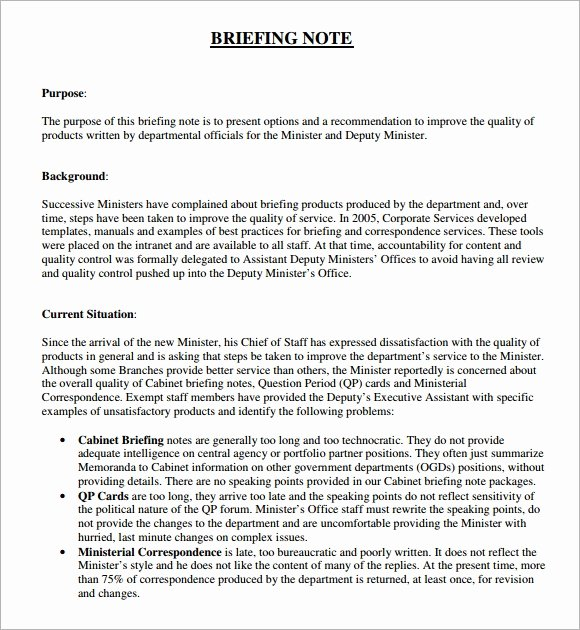 Policy Brief Template Microsoft Word Fresh Free 5 Briefing Note Samples In Pdf