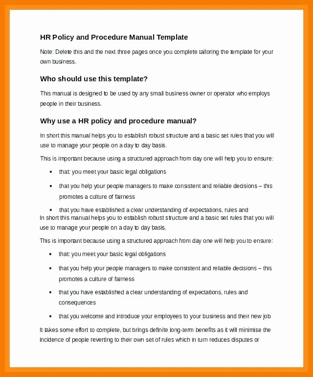 Policy Brief Template Microsoft Word Inspirational 12 13 Policy and Procedure Manual Examples
