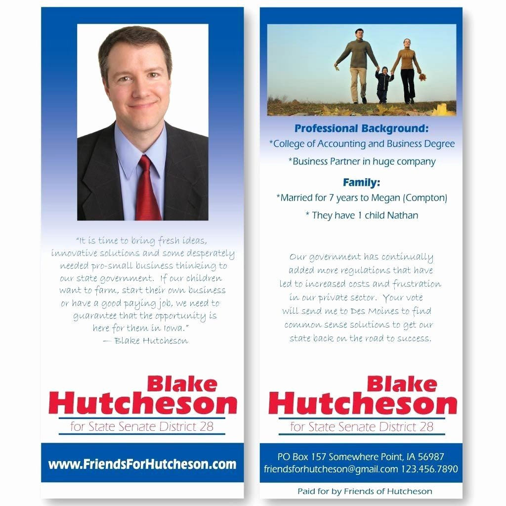 "Political Palm Card Template Inspirational 3 5"" X 8 5"" Palm Cards Custom Printed Pamphlets"