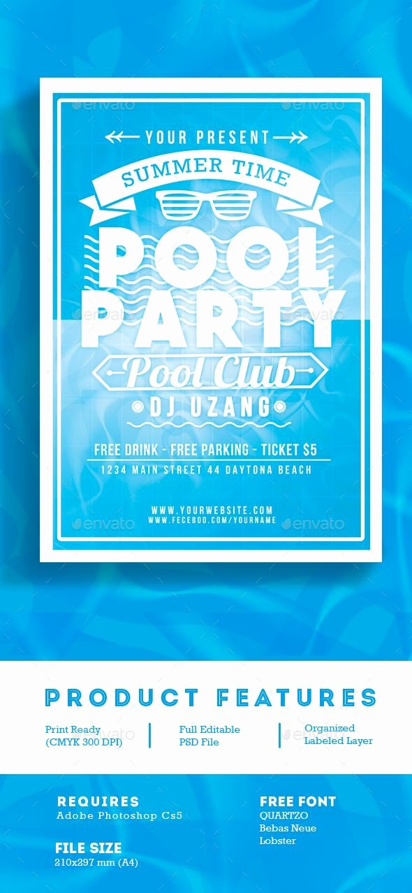 Pool Party Flyer Templates Beautiful Pool Party Summer Time Flyer
