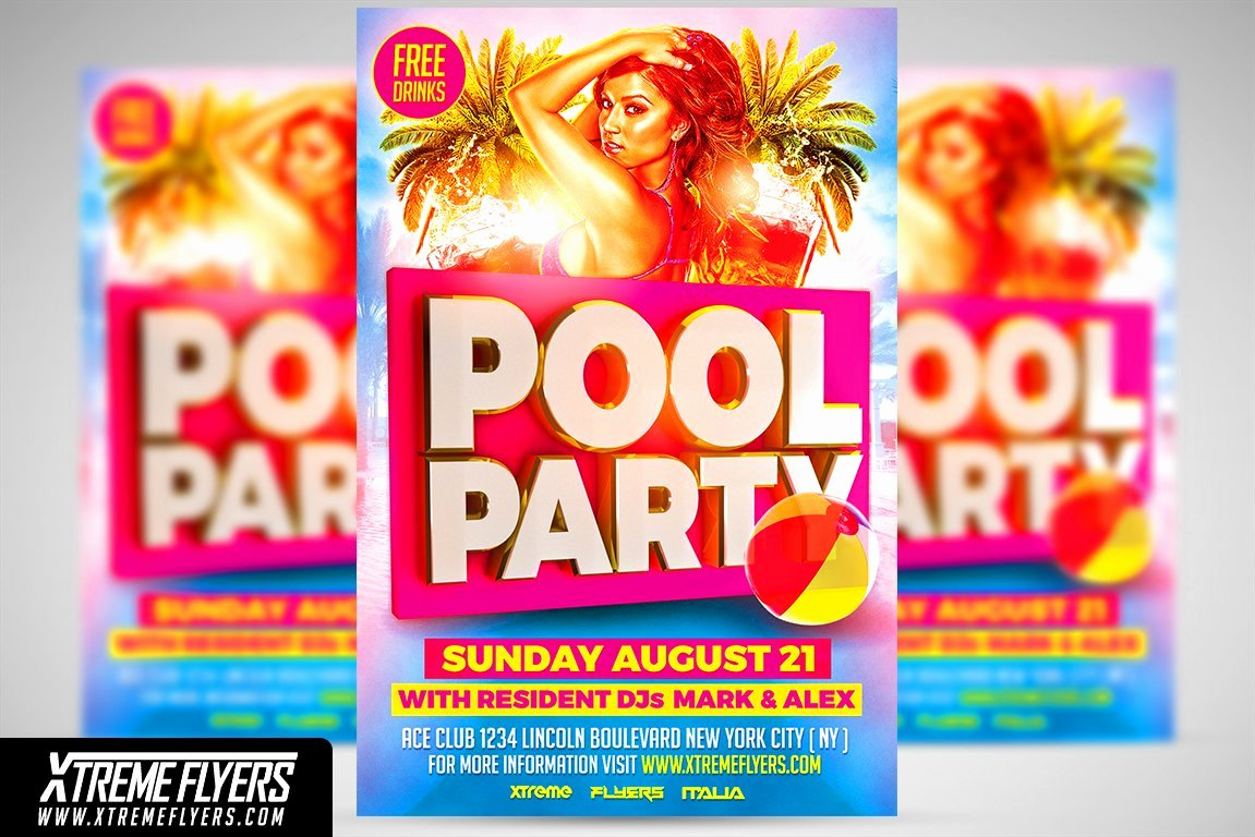 Pool Party Flyer Templates Elegant Pool Party Flyer Template Flyer Templates Creative Market