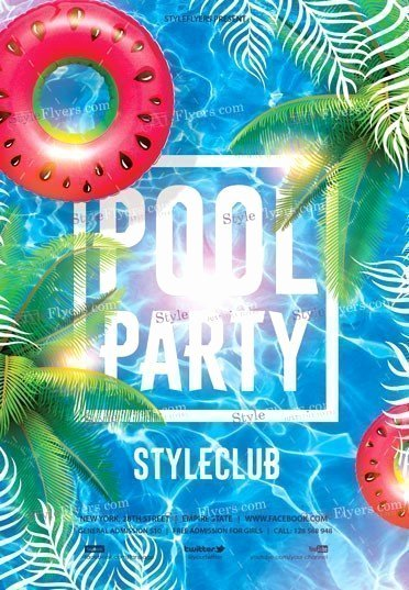 Pool Party Flyer Templates Elegant Pool Party Psd Flyer Template Styleflyers