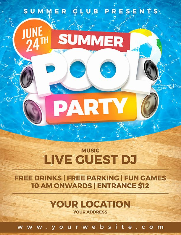 Pool Party Flyer Templates Elegant Summer Pool Party Flyer Template by Dilanr On Deviantart