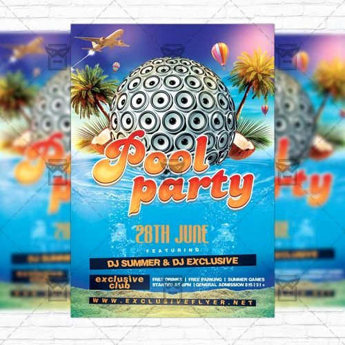 Pool Party Flyer Templates Free Awesome Summer Pool Party – Premium Flyer Template Instagram Size Flyer Exclsiveflyer