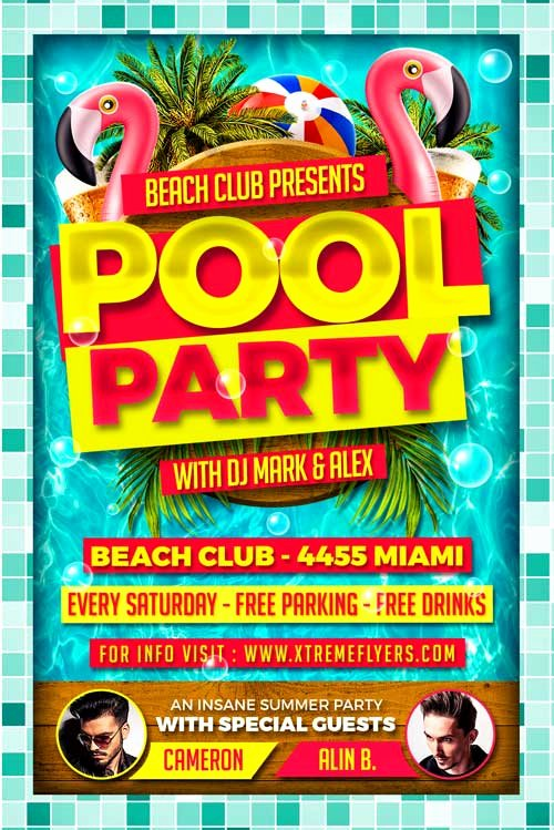 Pool Party Flyer Templates Free Inspirational Pool Party Psd Flyer Template Xtremeflyers