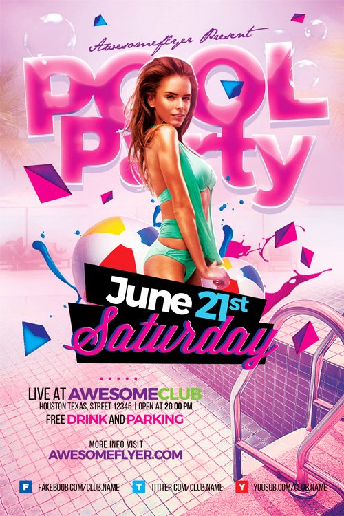 Pool Party Flyer Templates Free Luxury Summer Pool Party Flyer Template Flyer for Summer and Beach Parties