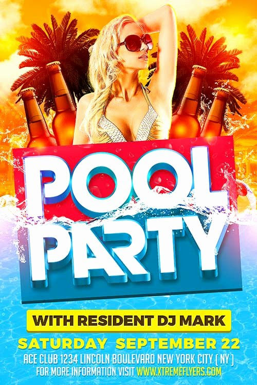 Pool Party Flyer Templates Inspirational Summer Pool Party Psd Flyer Template Xtremeflyers