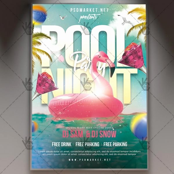 Pool Party Flyer Templates Lovely Download Teen Pool Party Flyer Psd Template