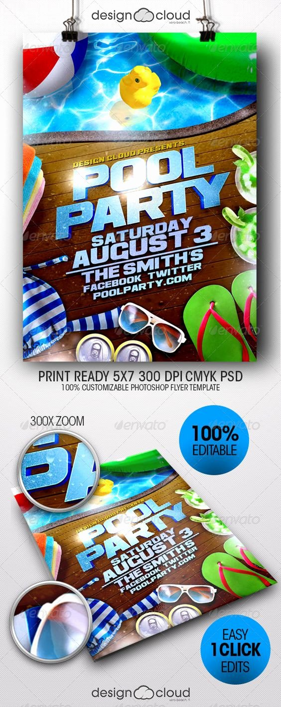 Pool Party Flyer Templates Luxury Party Flyer Flyer Template and Pool Parties On Pinterest