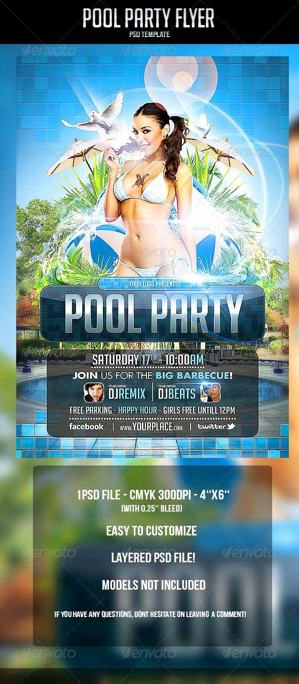 Pool Party Flyer Templates Luxury Pool Party Flyer Template Graphicriver Pool Party Flyer Template Cmyk 300dpi – 4'' X 6