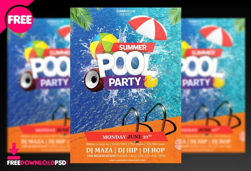 Pool Party Flyer Templates Unique Pool Party Psd Flyer
