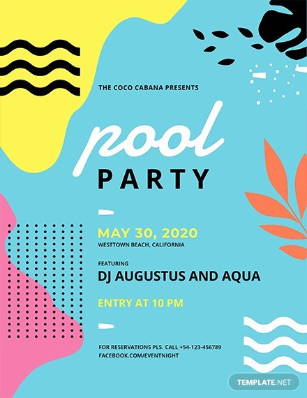 Pool Party Flyers Templates Awesome 23 Pool Party Flyers Free Psd Word Ai Eps format