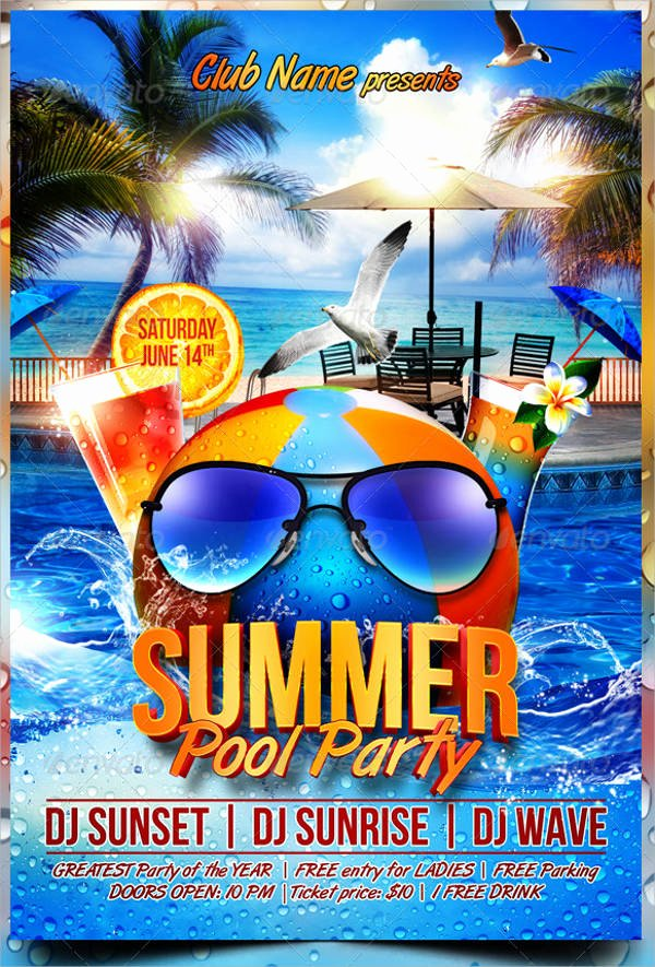 Pool Party Flyers Templates Awesome 93 Party Flyer Design Psd Word Ai Eps format