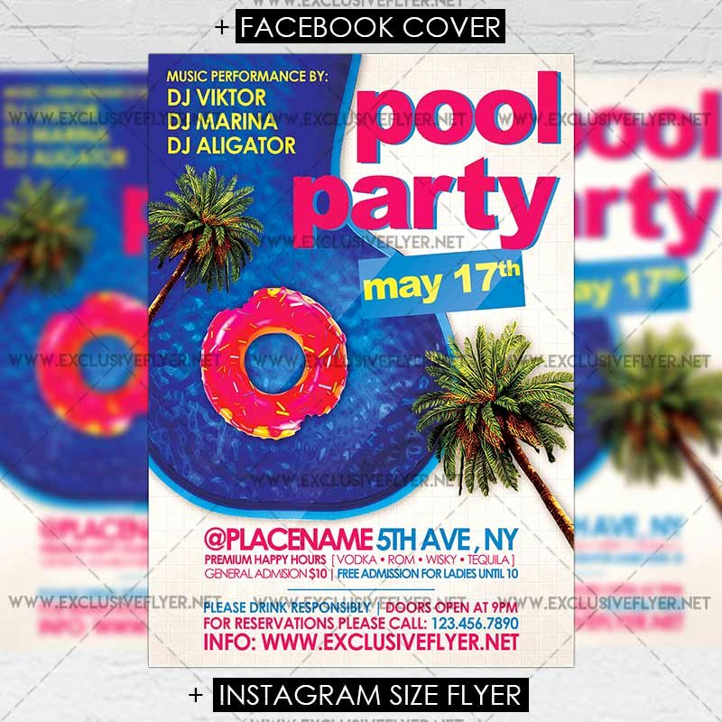 Pool Party Flyers Templates Awesome Pool Party – Premium A5 Flyer Template