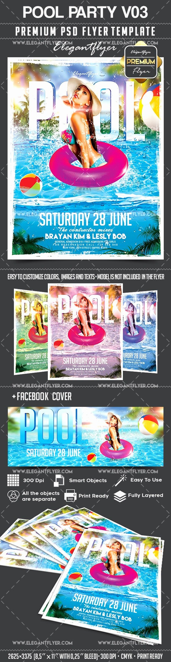 Pool Party Flyers Templates Awesome Pool Party V03 – Flyer Psd Template – by Elegantflyer