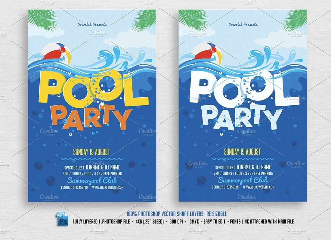 Pool Party Flyers Templates Fresh Pool Party Flyer Flyer Templates Creative Market