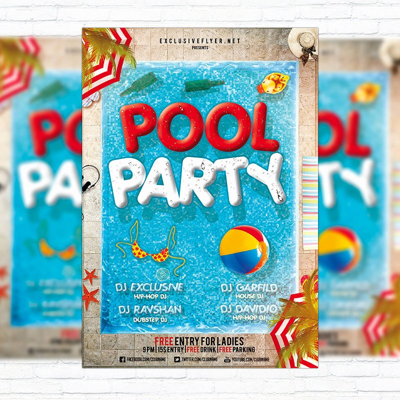 Pool Party Flyers Templates Fresh Pool Party Flyer Template Cover On Behance