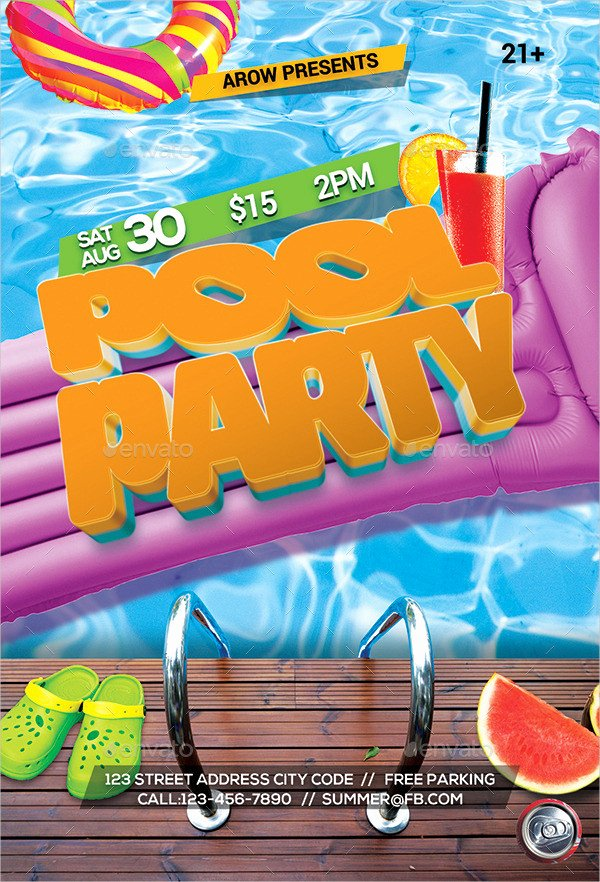 Pool Party Flyers Templates Inspirational 33 Printable Pool Party Invitations Psd Ai Eps Word