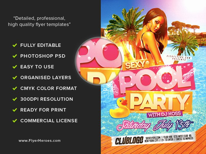 Pool Party Flyers Templates Inspirational Y Pool Party Flyer Template Flyerheroes
