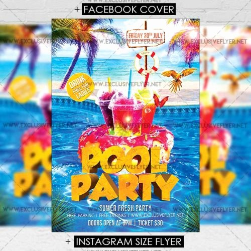 Pool Party Flyers Templates Lovely Pool Party – Premium A5 Flyer Template