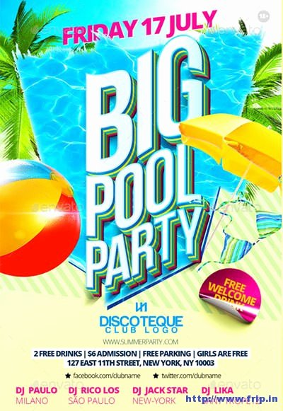 Pool Party Flyers Templates New 50 Best Summer Pool Party Flyer Print Templates 2019