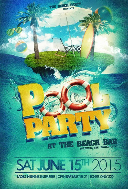 Pool Party Flyers Templates New Flyer Template Psd Pool Party Beach Nitrogfx