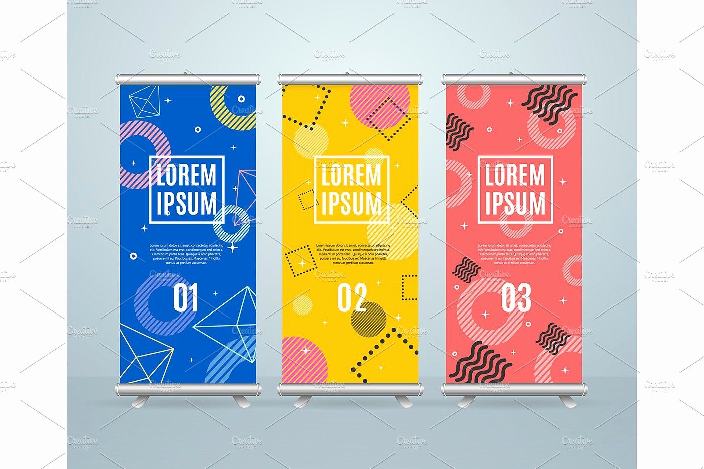 Pop Up Banner Template Beautiful Roll Up Banner Stand Template Presentation Vector Advertising Memphys
