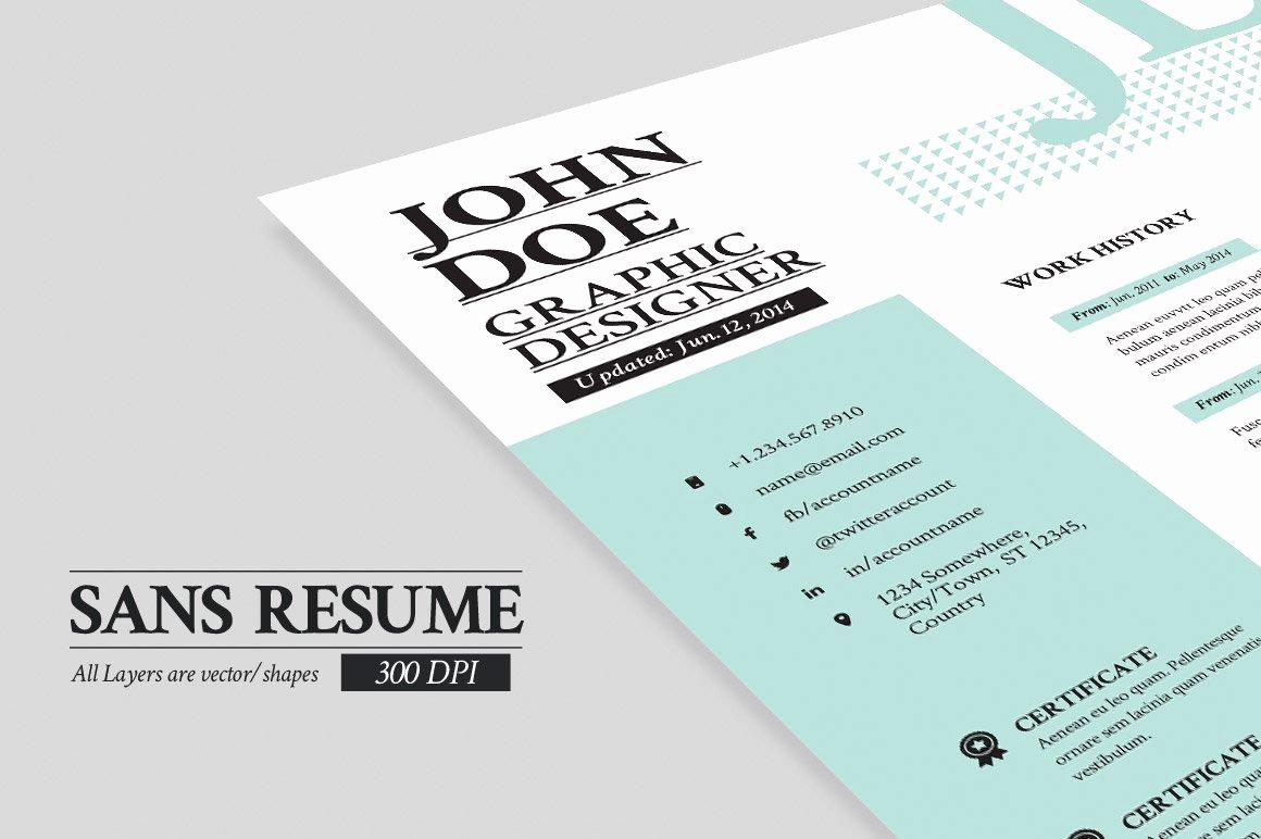Portfolio Cover Page Template Unique Sans Resume Cover Letter Portfolio Cover Letter Templates Creative Market
