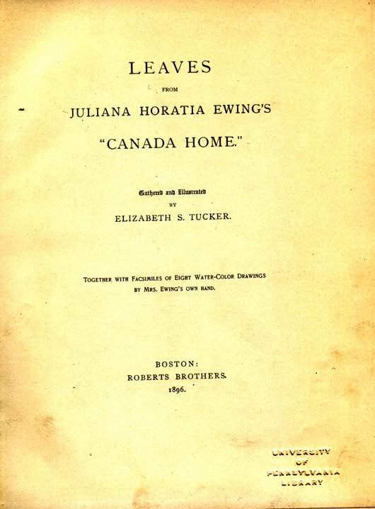 "Portfolio Title Page Template Inspirational Leaves From Juliana Horatia Ewing S ""canada Home """
