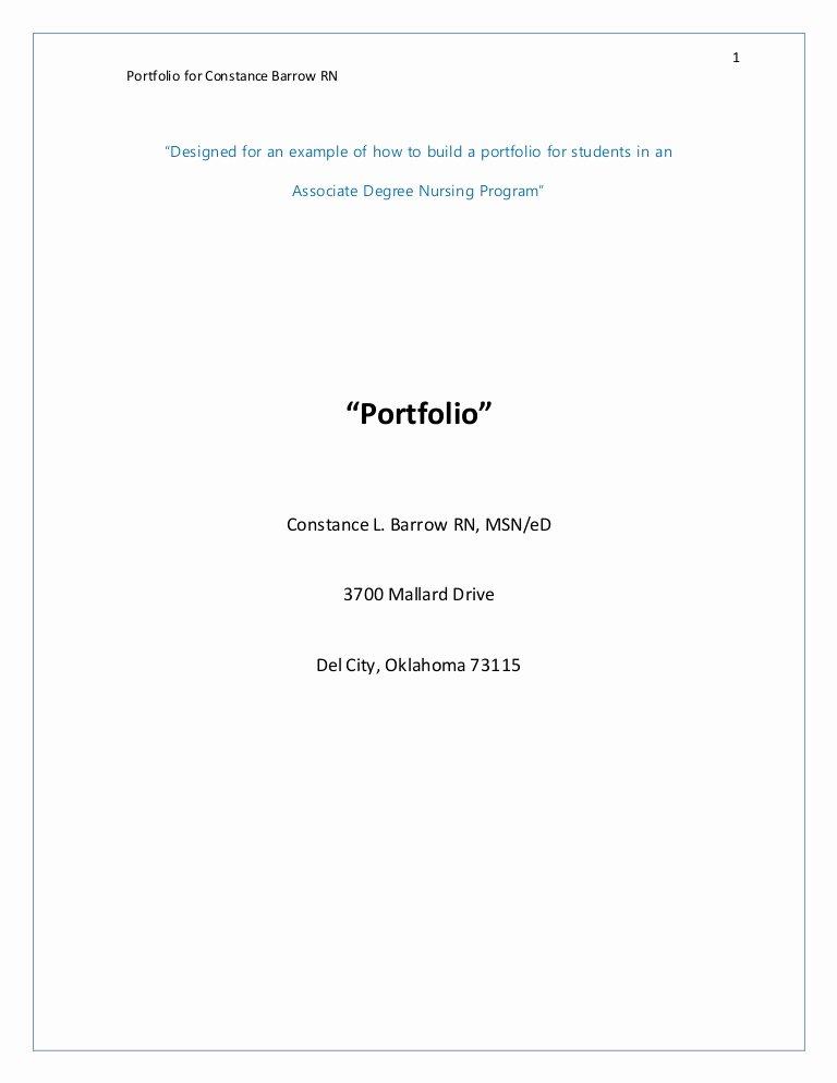portfolio connie barrow example