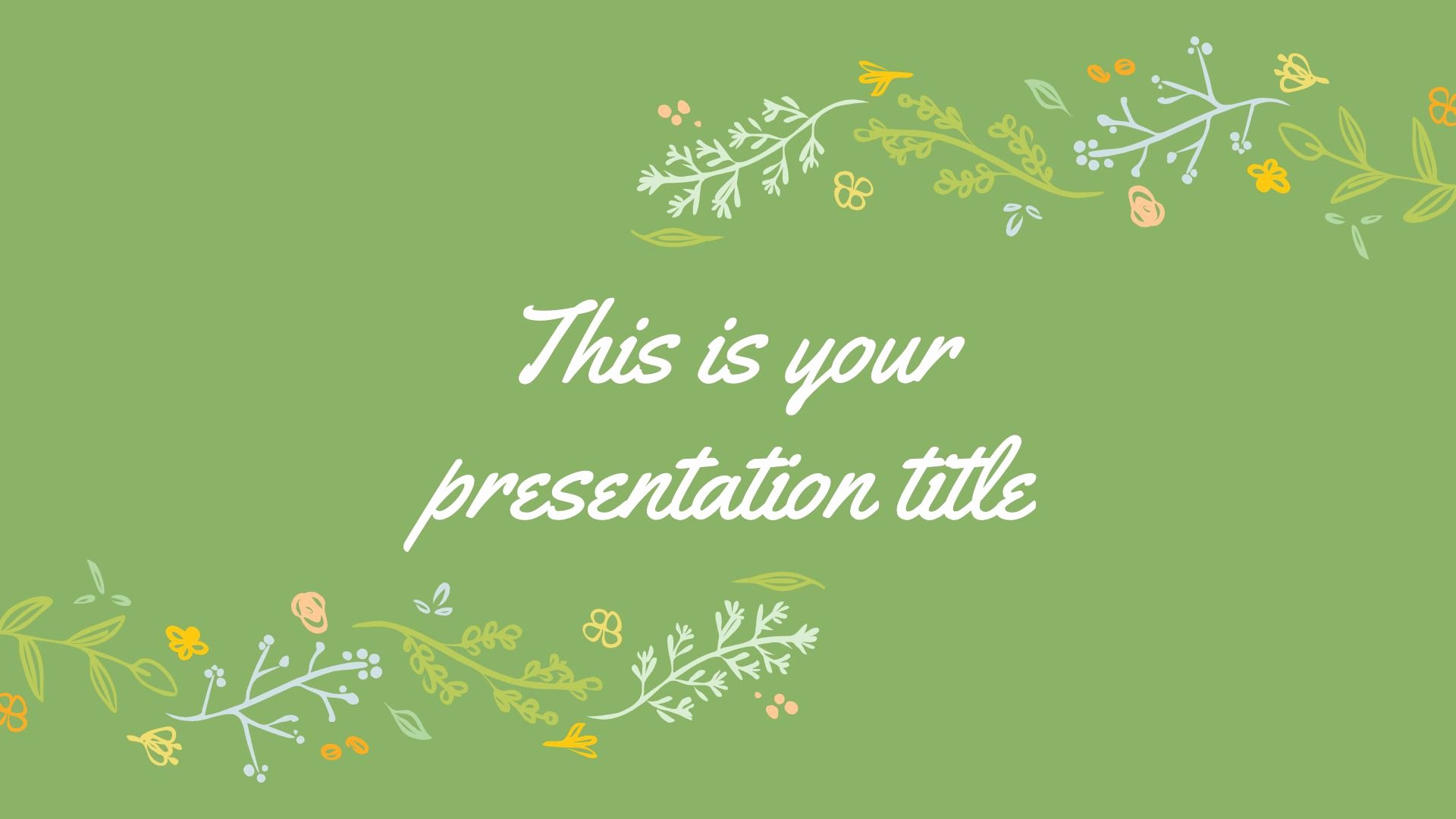Powerpoint Background Image Free Download Awesome Free Green Powerpoint Template or Google Slides theme with Floral Illustrations