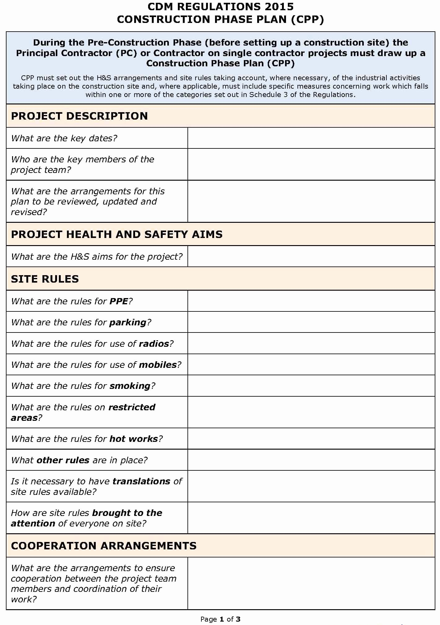 Pre Construction Checklist Template Lovely Cdm Regulations 2015 Safety Plan Cpp Template