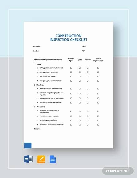 Pre Construction Checklist Template Unique Free 15 Construction Checklist Samples and Templates In Pdf