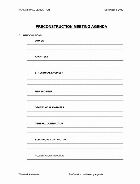 Pre Construction Meeting Agenda Template Fresh 5 Pre Construction Meeting Agenda Template Eiyye