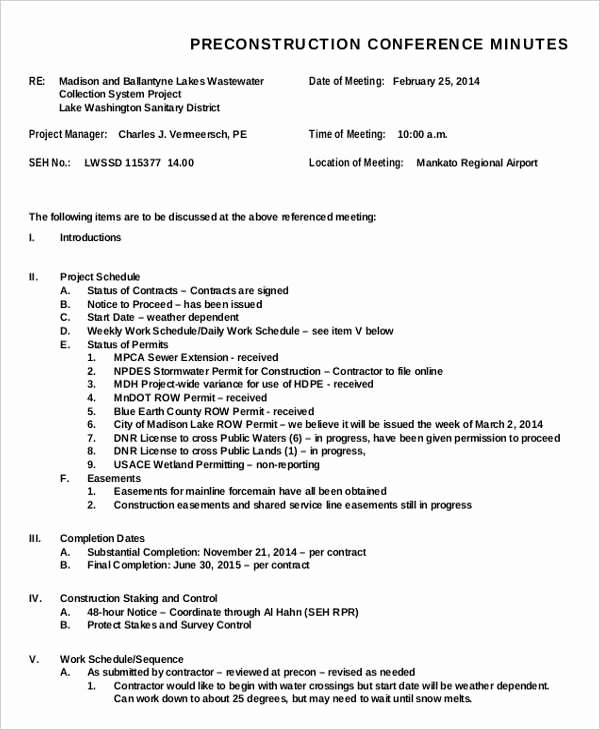 Pre Construction Meeting Agenda Template Lovely Meeting Minutes format