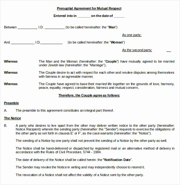 Prenuptial Agreement form Pdf Beautiful Prenuptial Agreement Template – 10 Free Word Pdf Document Download