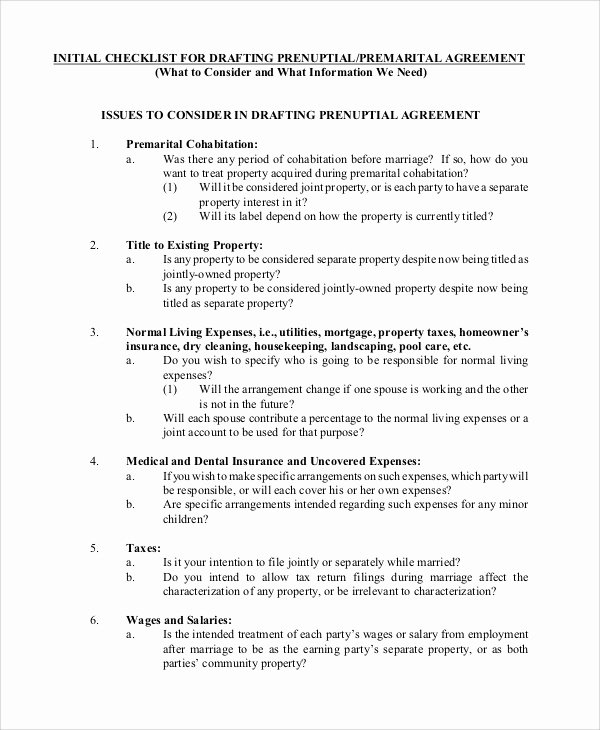 Prenuptial Agreement form Pdf Beautiful Sample Prenuptial Agreement 8 Examples In Word Pdf
