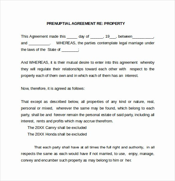 Prenuptial Agreement form Pdf Fresh Prenuptial Agreement Template 8 Word Pdf formtas