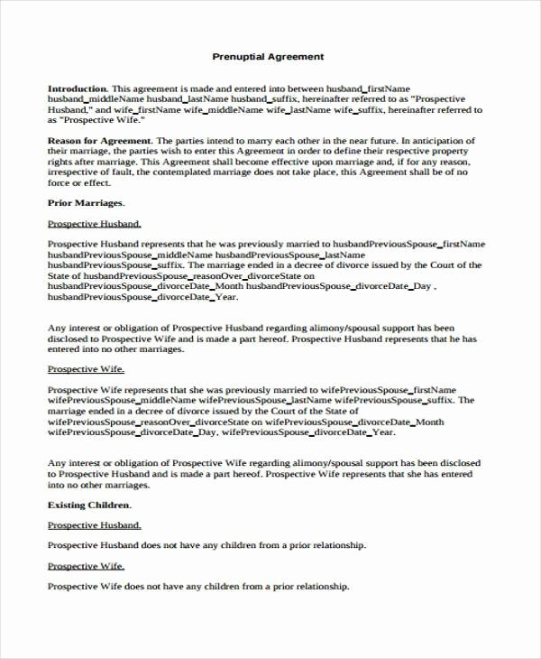 Prenuptial Agreement form Pdf Inspirational 6 Prenuptial Agreement form Samples Free Sample Example format Download