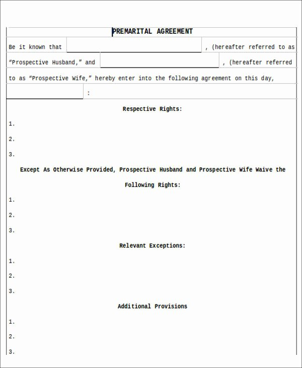 Prenuptial Agreement form Pdf Unique 8 Sample Prenuptial Agreement Free Sample Example format Download