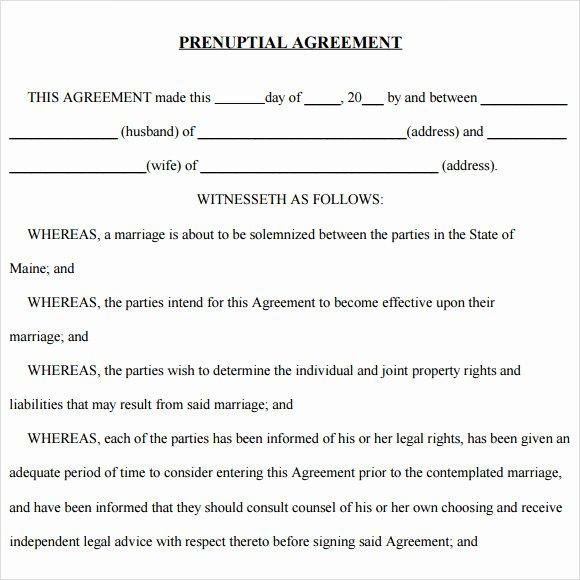 Prenuptial Agreement Sample Pdf Inspirational Prenuptial Agreement 8 Free Samples Examples & format