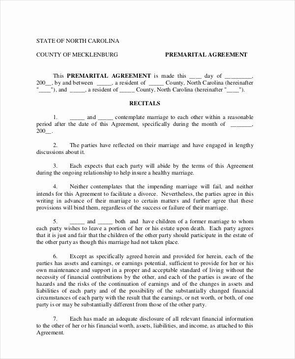 Prenuptial Agreement Sample Pdf Lovely 7 Prenuptial Agreement Samples Free Word Pdf format