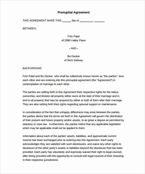 Prenuptial Agreement Sample Pdf Lovely Free 8 Sample Free Prenuptial Agreement Templates In Pdf
