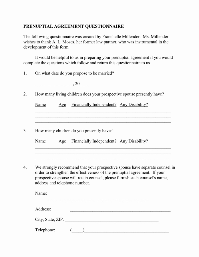 Prenuptial Agreement Sample Pdf New Prenuptial Agreement Questionnaire In Word and Pdf formats
