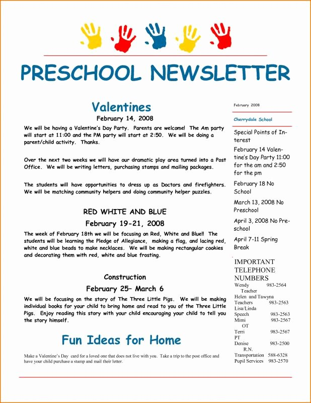 Preschool Newsletters for Parents Awesome 5 6 Weekly Newsletter Template