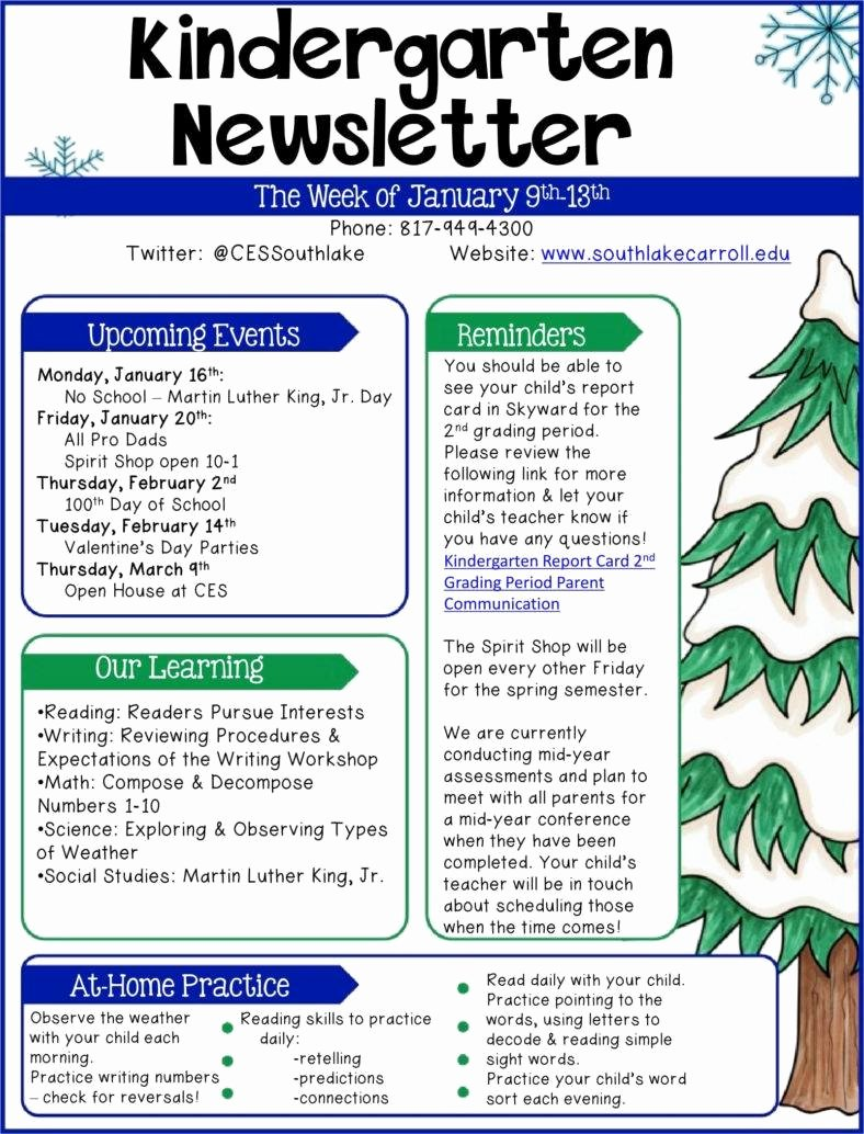 Preschool Newsletters for Parents Awesome 9 Kindergarten Newsletter Templates Free Samples Examples formats Download