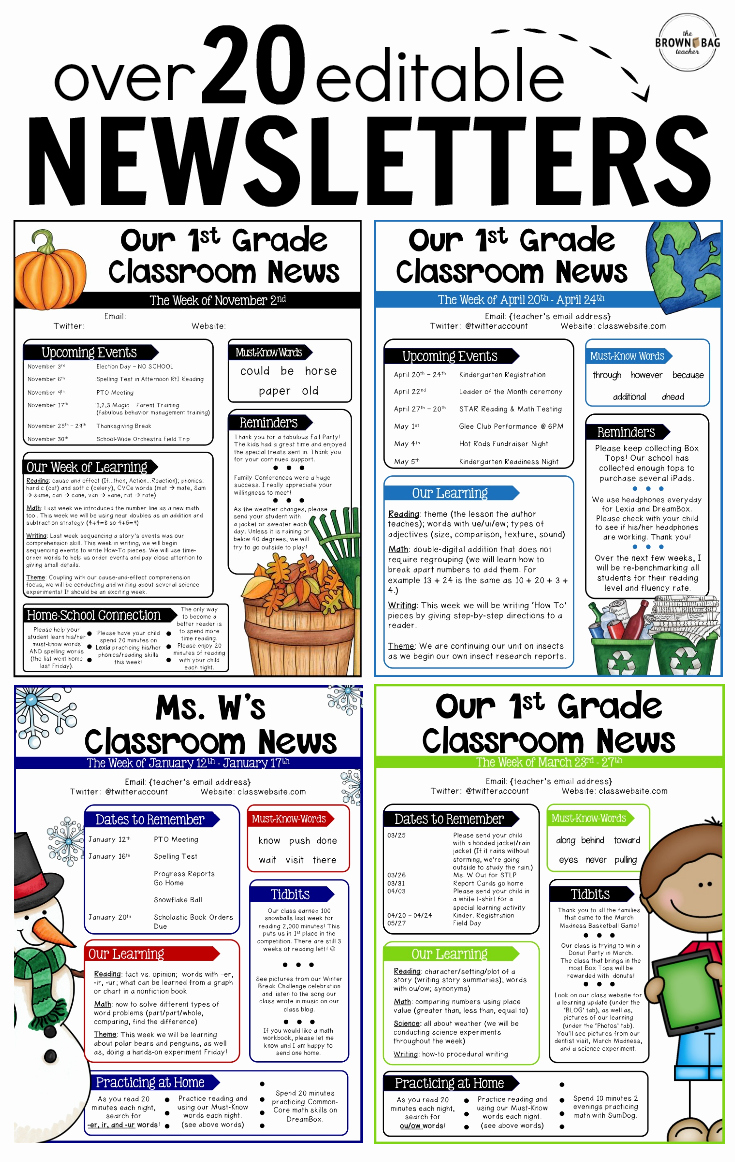 Preschool Newsletters for Parents Awesome Editable Newsletter Templates Back to School