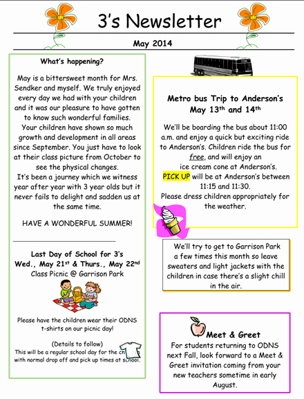 Preschool Newsletters for Parents Beautiful 3's May Newsletter